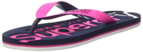 Superdry Faded Logo, Tongs Femme, Multicolore (Magenta Pink Dark Navy Optic 40799eeecf8b