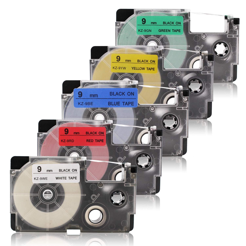 Labelwell 12mm XR-12WE/XR-12RD/XR-12BU/XR-12YW/XR-12GN Nero su Bianco / Rosso / Blu / Giallo / Verde Nastri per Etichette- 5 Pack Compatibile Casio XR-12WE/XR-12RD/XR-12BU/XR-12YW/XR-12GN Cassetta di etichette per Casio KL-60 KL-120 KL-820 KL-60SR KL-70e K