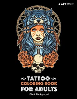 Tattoo Coloring Book Black Background Stress Relieving Adult For Men Women