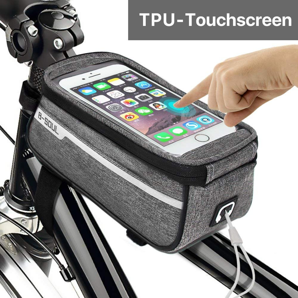 Sporcis Bicycle Bag, Bike Handlebar Bag TPU Sensitive Touch Screen Bike Frame Bag Cycling Front Tube bag Mobile Phone Holder for any Smartphones Below 6.0 Inch, 1L (Gray)