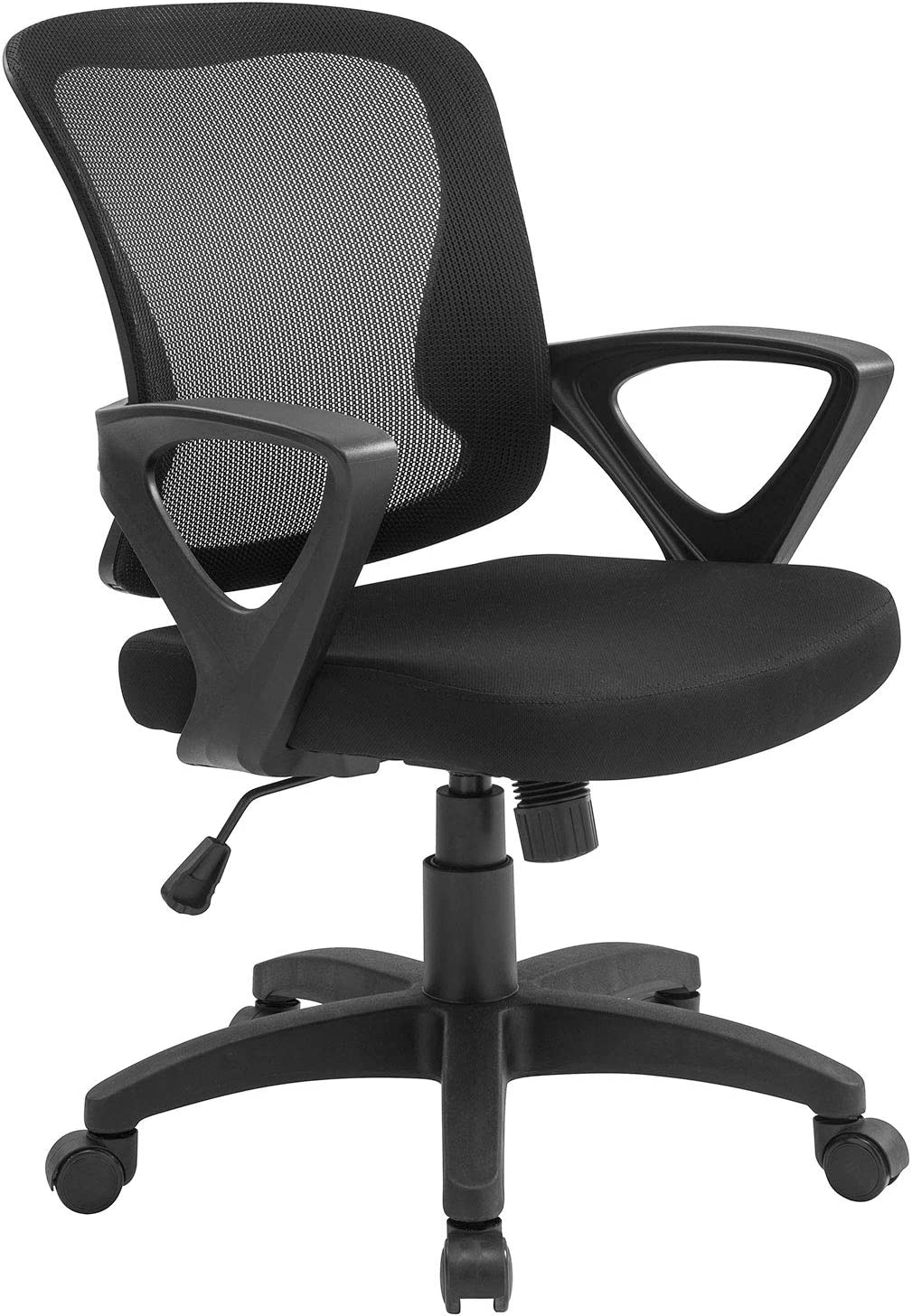 Office Chair Ergonomic Desk Chair Adjustable Modern Mid Back Swivel Chair for Small Place, White(Black)