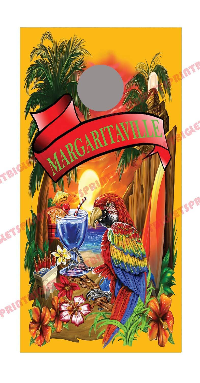 Lets Print Big Margaritaville Orange Cornhole Board Decal Wraps by Lets Print Big