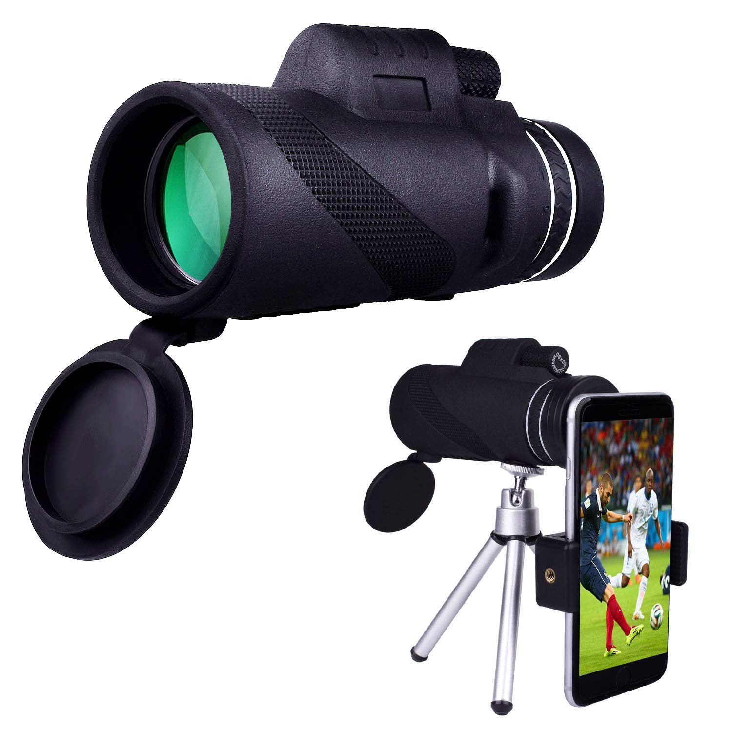 Monocular Telescope, Racol 40x60 High Power Low Night Vision Waterproof Compact Monocular High Power Prism Scope With Quick Smartphone Mount Adapter and Tripod - Dual Focus Waterproof Spotting Scopes
