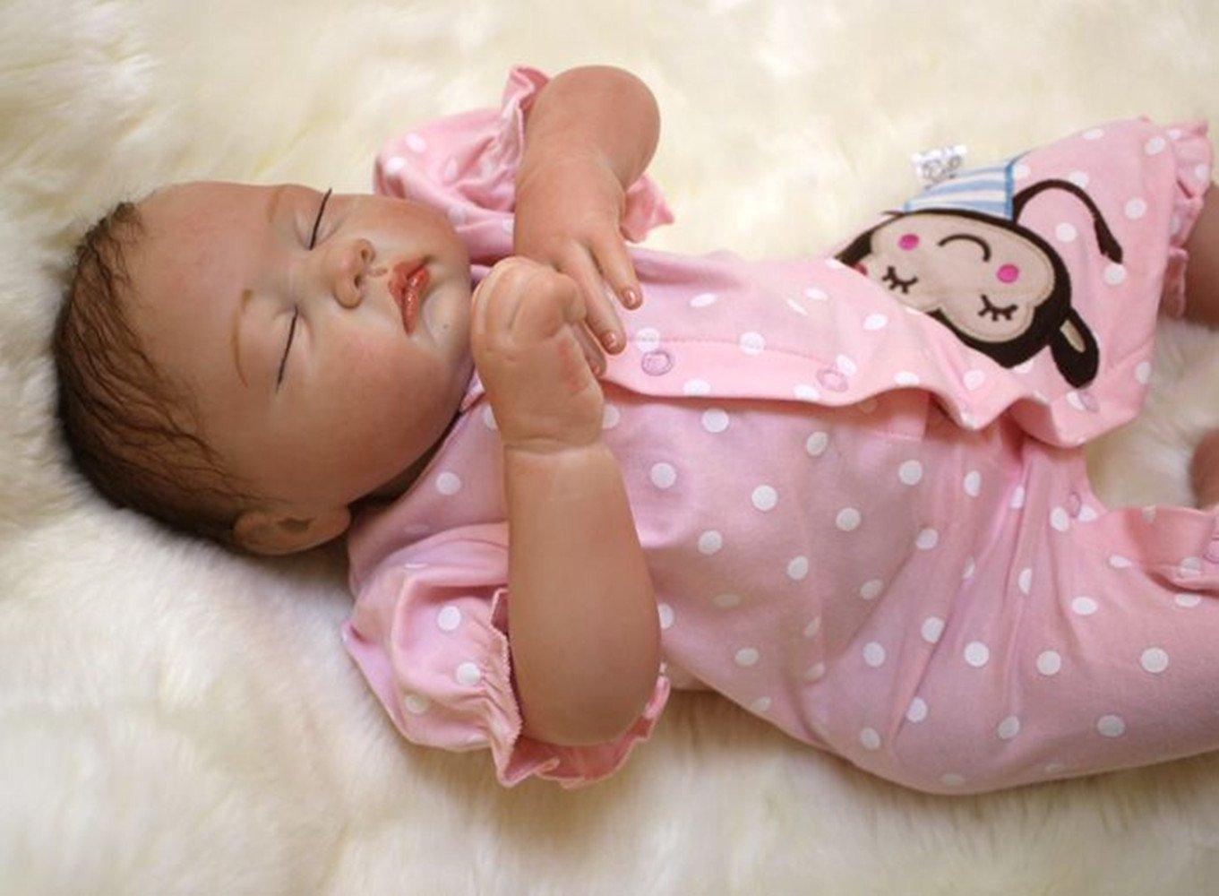 HGYG Neugeborenes 49 cm 19 Zoll Reborn Baby Puppe Silikon Vinyl Naturgetreue Schlaf Baby Doll Mädchen Spielzeug Geschenke