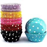 Mkustar 300 Count Mini Cupcake Liners Polka Dots Baking Paper Cups Rainbow
