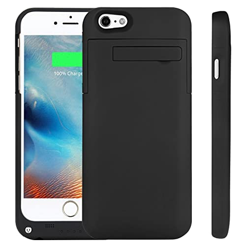 """PEMOTech Battery Case Compatible iPhone 6 / 6S[2 PCS Free Screen Protector], 3200mAh Ultra Slim Rechargeable External Charger Case Portable Charging Case Kickstand Compatible iPhone 6 / 6s 4.7""""- BLACK"""