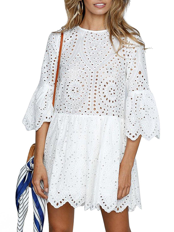 Missy Chilli Damen Kleid Kurz Sommer Elegant Langarm O Ausschnitt Baumwolle Spitze Mini Kleid Knielangkleid Dress mit Trompetenärmel