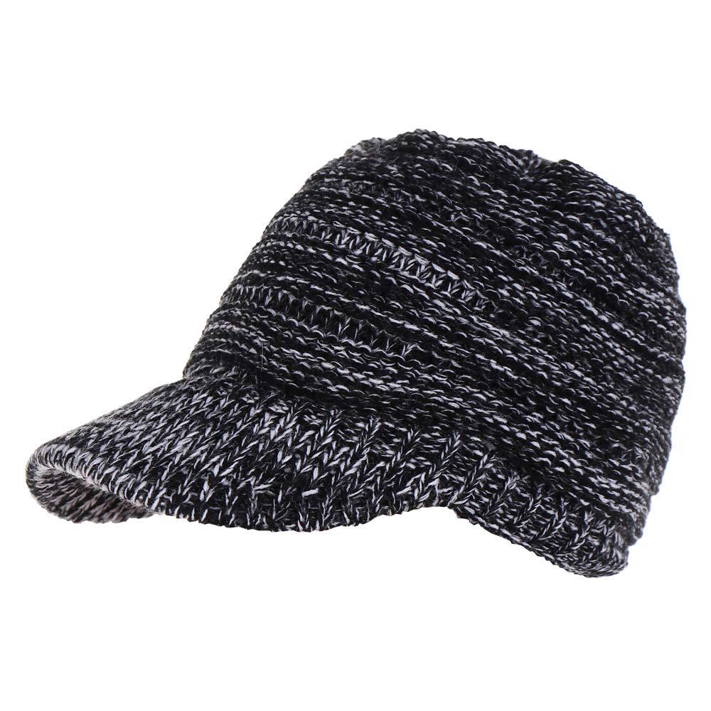 Yaslnn Women Knit Ponytail Hat Wide Brim Cap Girls Winter Beanie Hat