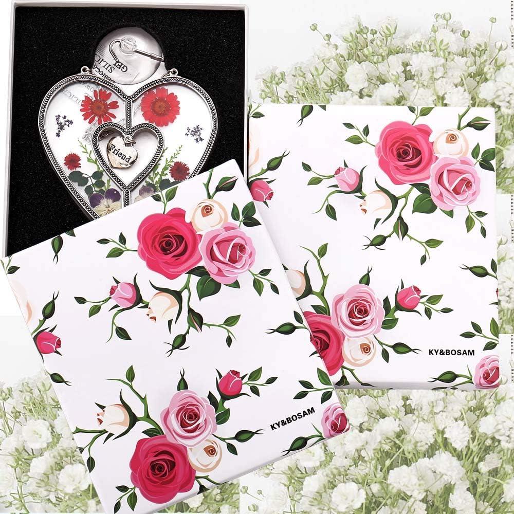 Sister Gifts Gift for Sister`s Day Sisterfor Birthdays Christmas Glass Heart Suncatchers Sister Heart Suncatchers Stained Glass Suncatchers for Windows Heart with Pressed Flower Heart