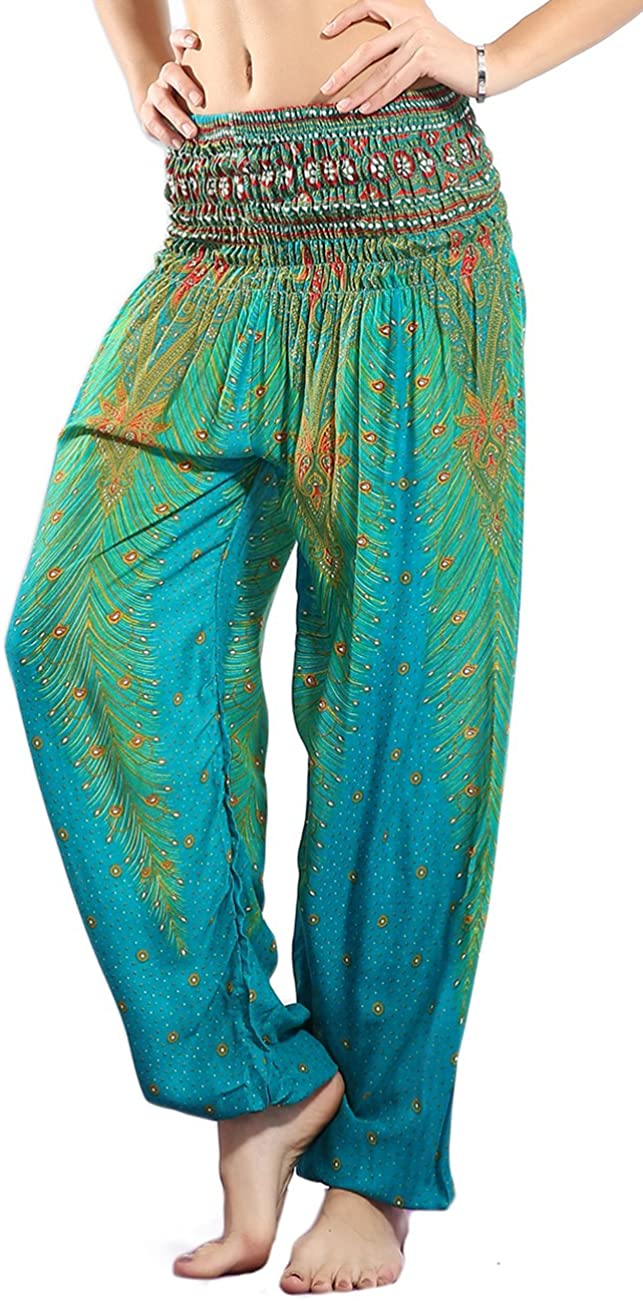 CHRLEISURE Women's Loose Harem Pants Boho Peacock Print High Waisted Yoga Pants Lake Green,X-Small / Small