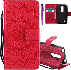 ISADENSER LG Leon C40 Case LG Tribute 2 Case [Wallet Stand] as Case with Shockproof Credit Card Holder Flip Magnetic Closure Protection PU Leather Wallet Case Cover for LG Leon H320 Red Sunflower