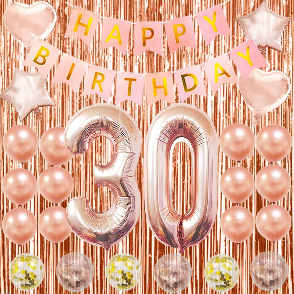 Happy 12th Birthday Decorations Rose Gold 12th Birthday Party Supplies 12th  Number Balloons 12 Inch