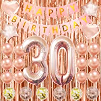 Happy 30th Birthday Balloons Party Decorations For Her-Rose Gold