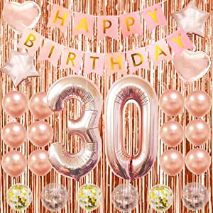 30th Birthday Decorations For Women Pink 30 Year Old Birthday Decorations For Women 30th Birthday Balloons Rose Gold