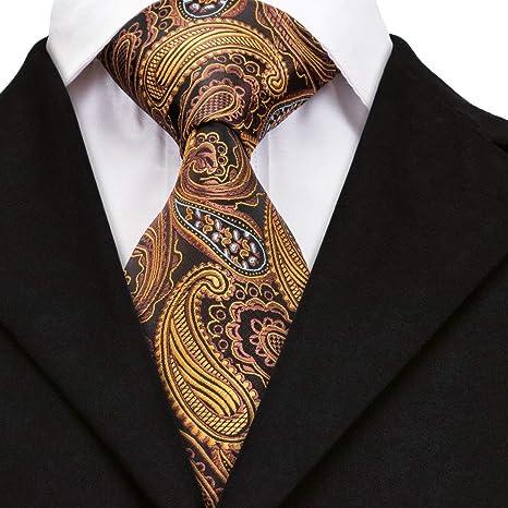 AK Corbata de seda de Paisley de color marrón dorado para hombres ...