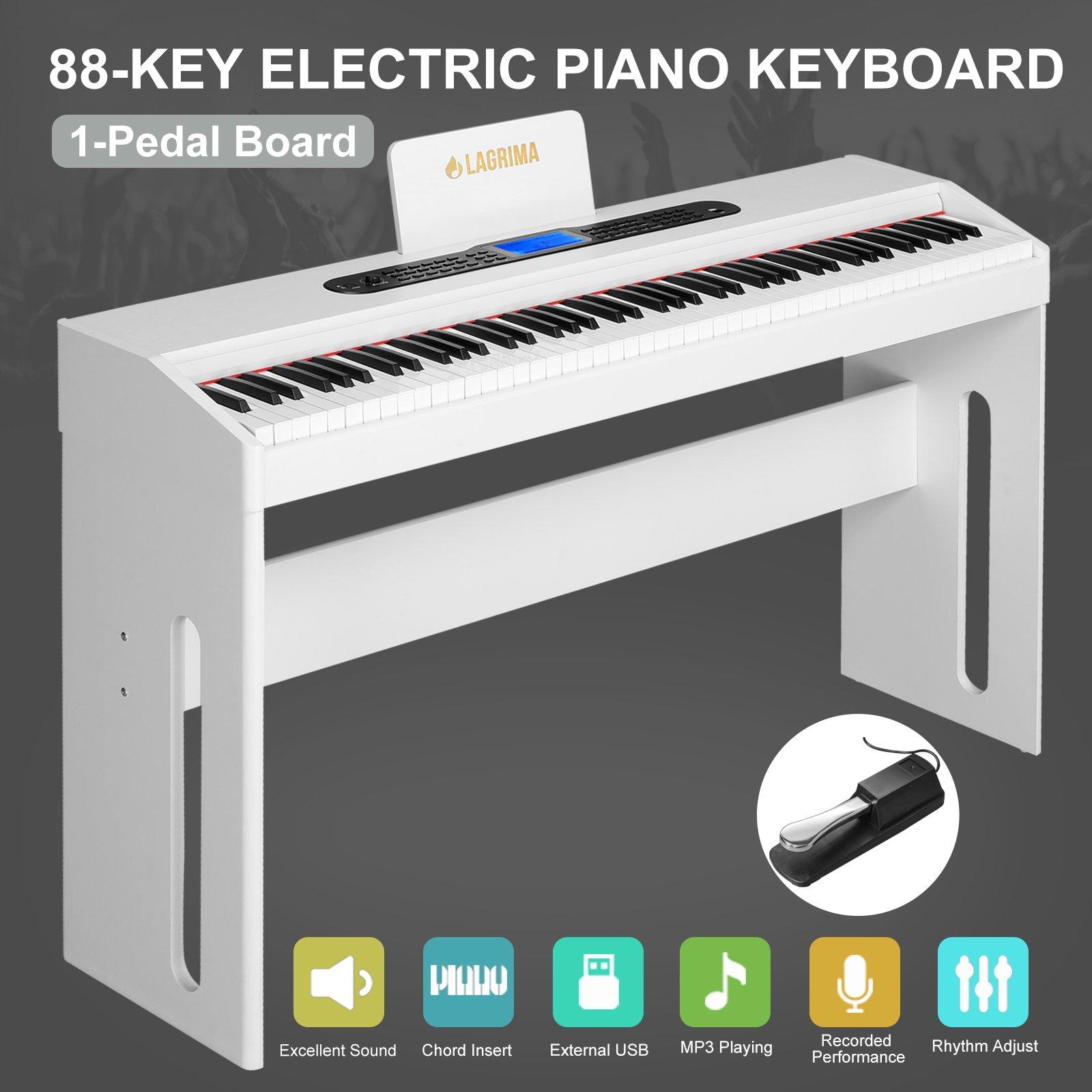 LAGRIMA 88 Key Music Electric Digital LCD Piano Keyboard W/Pedal Board (White)