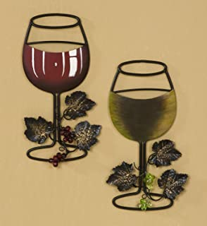 Tripar Wall Metal Wine Art - Red Wine / White Wine Glass Set of 2 -