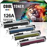 Cool Toner 4 Packs Compatible for HP 126A Black CE310A CE311A CE312A CE313A for HP LaserJet CP1025 CP1025NW Toner, LaserJet Pro 100 Color MFP M175NW M175A Toner, Black-1200 Pages, Colour-1000 Pages
