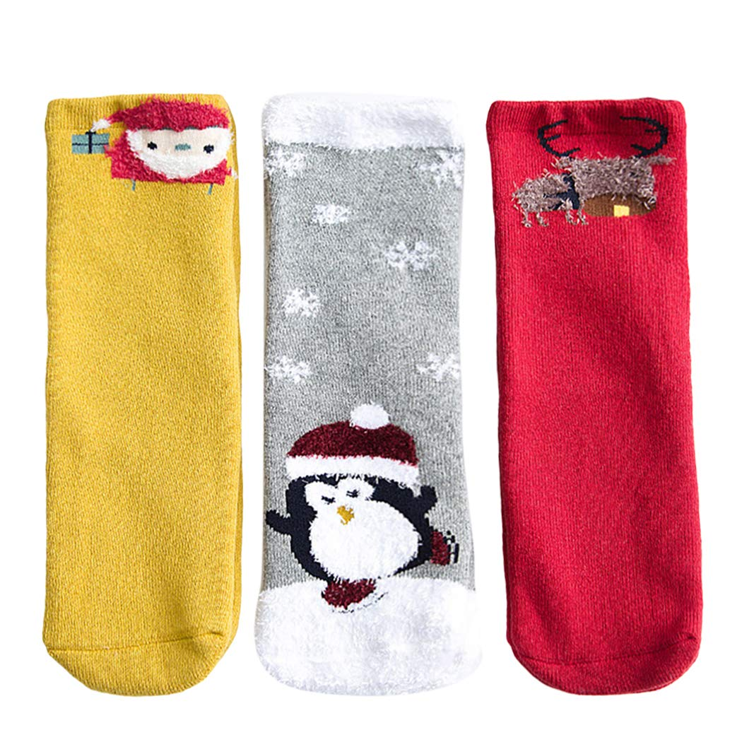 Kapmore 3 Pairs Kids Socks Soft Cartoon Print Winter Socks Crew Socks for Christmas by Kapmore