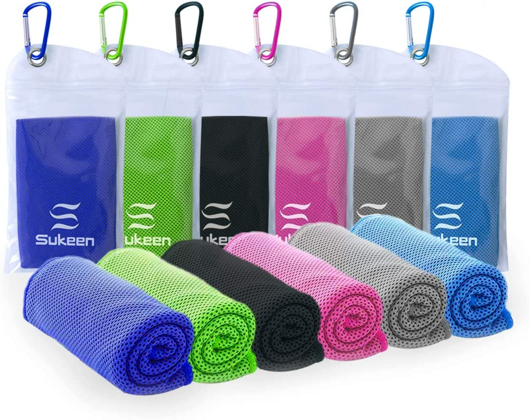 """[4 Pack] Cooling Towel (40""""x12""""), Ice Towel, Soft Breathable Chilly Towel, Microfiber Towel for Yoga, Sport, Running, Gym, Workout,Camping, Fitness, Workout & More Activities"""