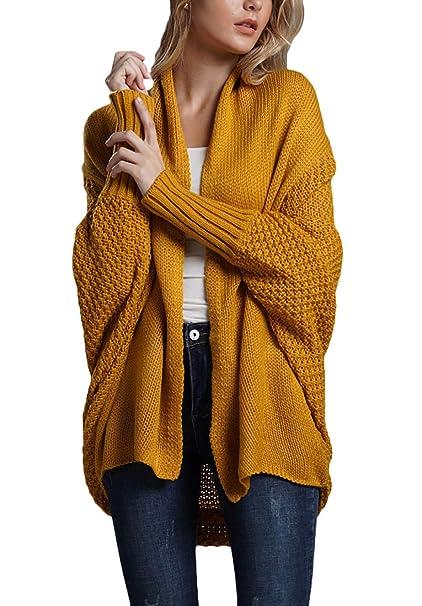 ... Moda Casuales Mangas De Murciélago Unicolor Tallas Grandes Abrigo Tejido Outerwear (Color : Amarillo, Size : One Size): Amazon.es: Ropa y accesorios