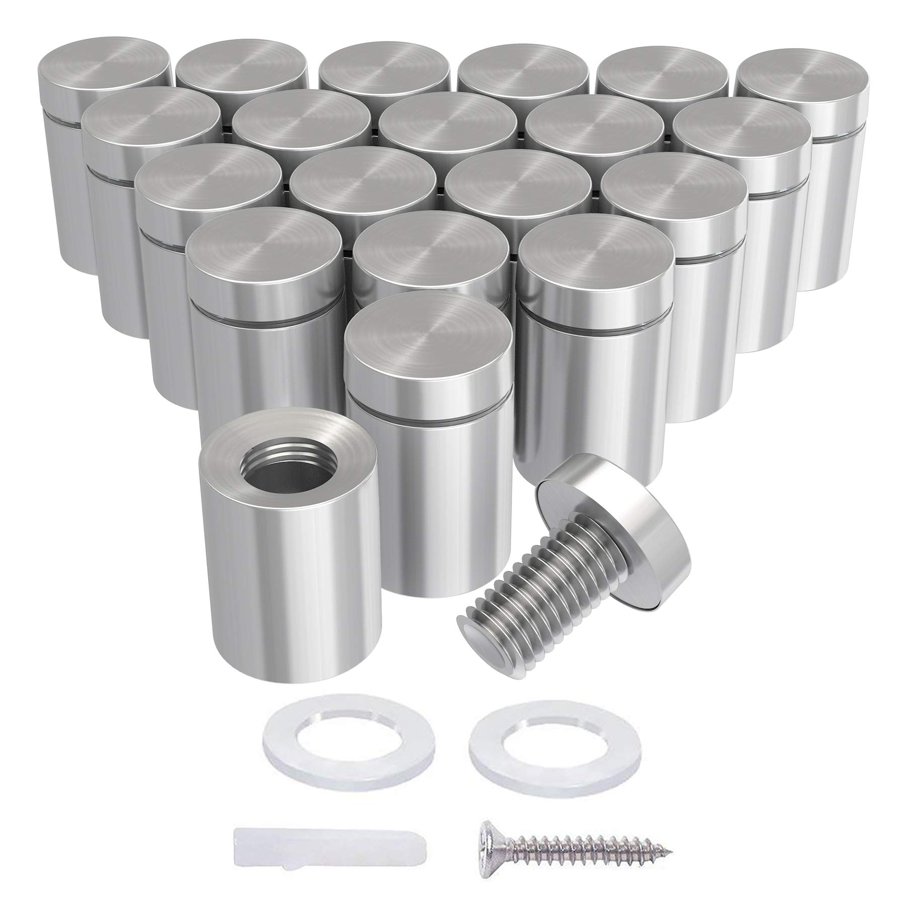 LuckIn 20 Pack Sign Standoff Screws 1/2 x 1 1/5 in, Acrylic Standoff Mounting Hardware, Stainless Steel Standoffs for Glass Panel, Plexiglass Picture