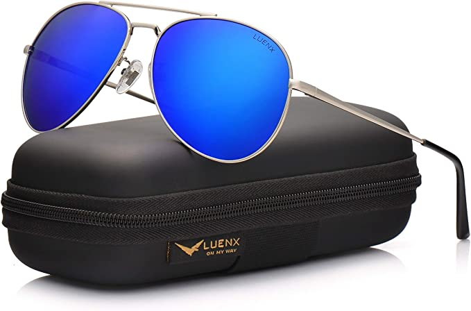 : LUENX Aviator Sunglasses Men Women Polarized