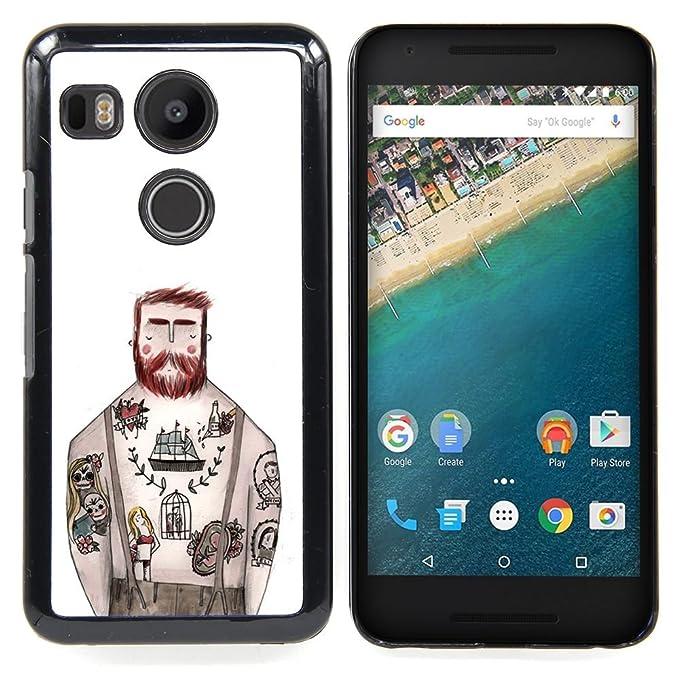 For LG GOOGLE NEXUS 5X H790 Case , Tatuaje capitán de tinta blanca ...