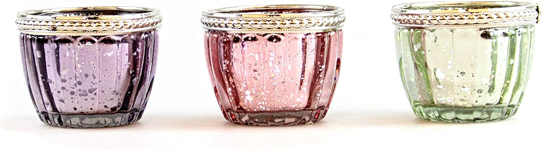Glask/önig Lot de 3 photophores en verre avec bord m/étallique Hauteur 5 cm Diam/ètre 6 cm Verre Votivol comme photophore pour bougie chauffe-plat