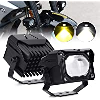OPP ULITE Motorcycle Headlight Universal LED Fog Lights 60W Double Color 6000K White 3000K Amber Motorbike Driving Light…