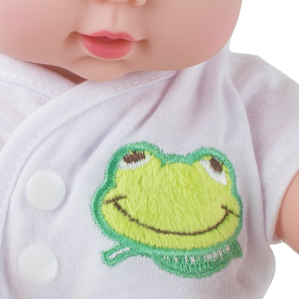CARESHINE Baby Doll Soft Vinyl Silicone Interactive Doll Sound Newborn Baby Toy Birthday Gift (Green)