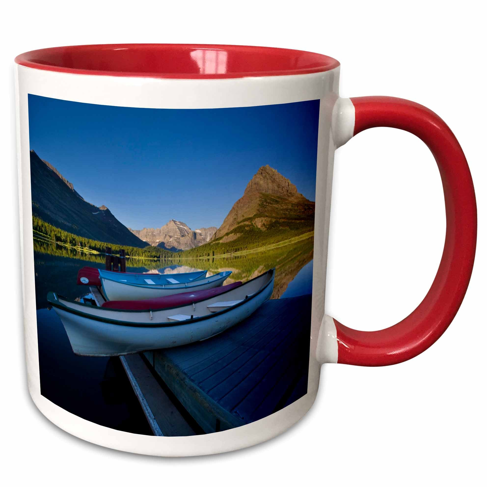 3D Rose 91658_5 Watercraft, Many Hotel, Glacier NP, Montana US27 CHA0914 Chuck Haney Two Tone Ceramic Mug, Red
