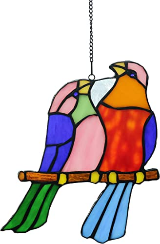 Alivagar Stained Glass Window Hangings Love Honey Birds, 8 x 7