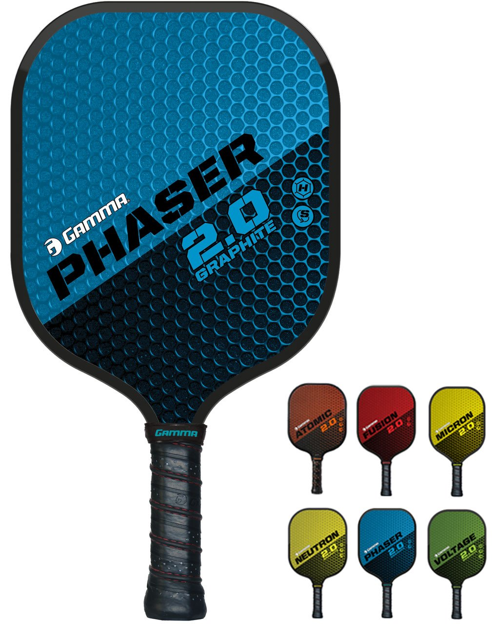GAMMA Sports 2.0 Pickleball Paddles: Phaser 2.0 Pickleball Rackets - Textured Graphite Face - Mens and Womens Pickle Ball Racquet - Indoor and Outdoor Racket - Blue Pickle-Ball Paddle - 7.9 oz by Gamma