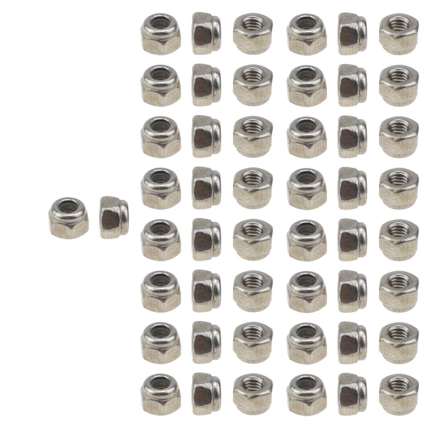 304 Stainless Steel Hex Nut Nylock Locknuts A2-70 5, M8-Left Hand 1.25