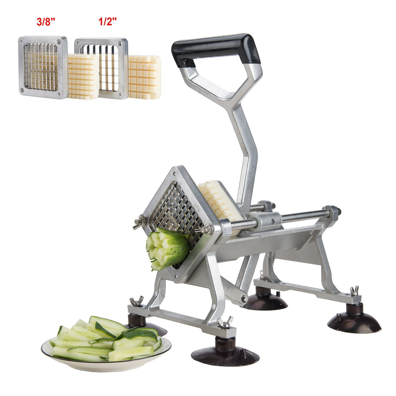 CO-Z Commercial Grade Aluminum Alloy Heavy Duty French Fry Cutter & Slicer with Suction Feet Complete Set (French Fry Cutter with 3/8 1/2 Wedge Blades)