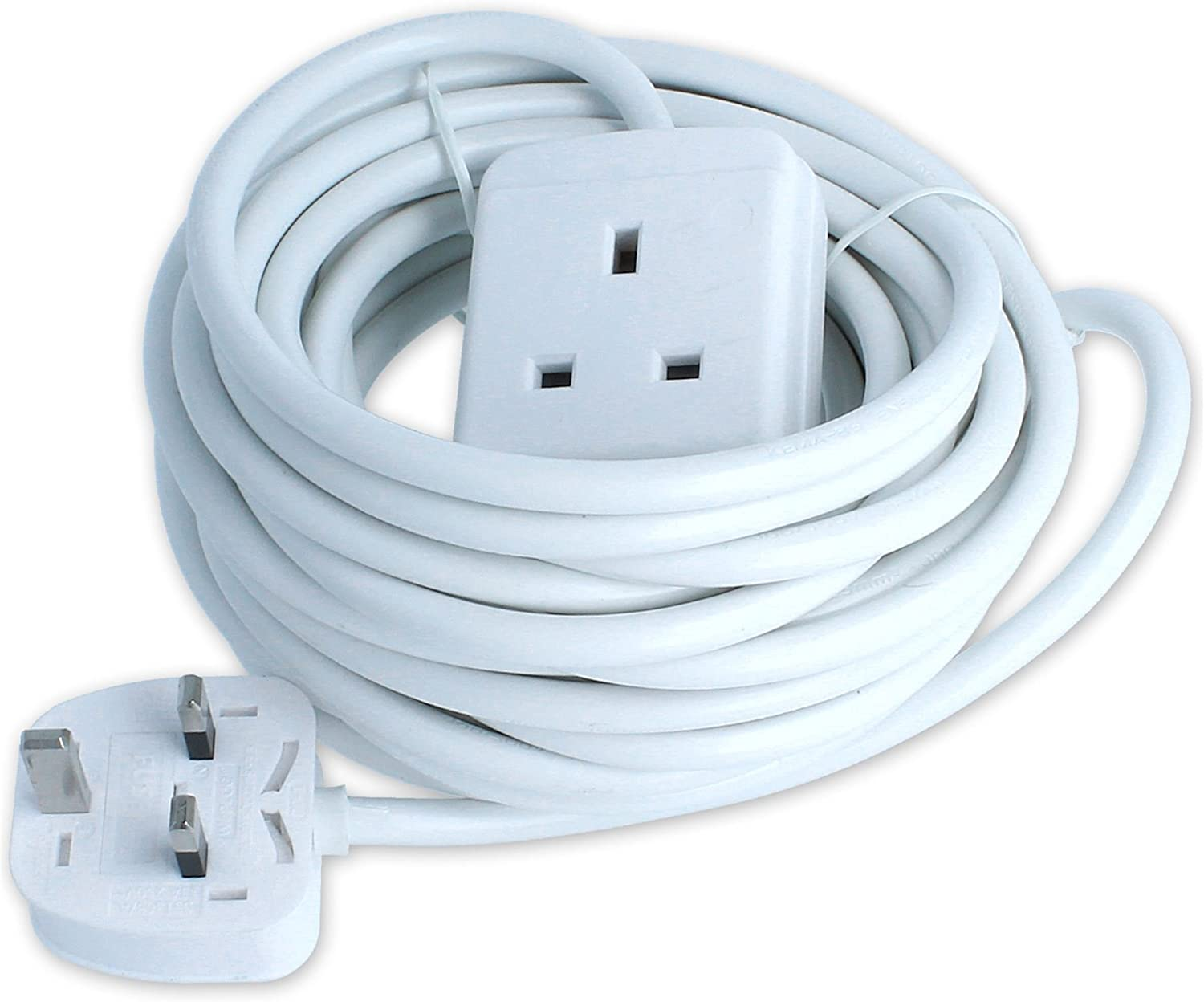 SINGLE GANG 1 GANG EXTENSION LEAD UK PLUG 1 WAY EXTENSION WITH 10M CABLE