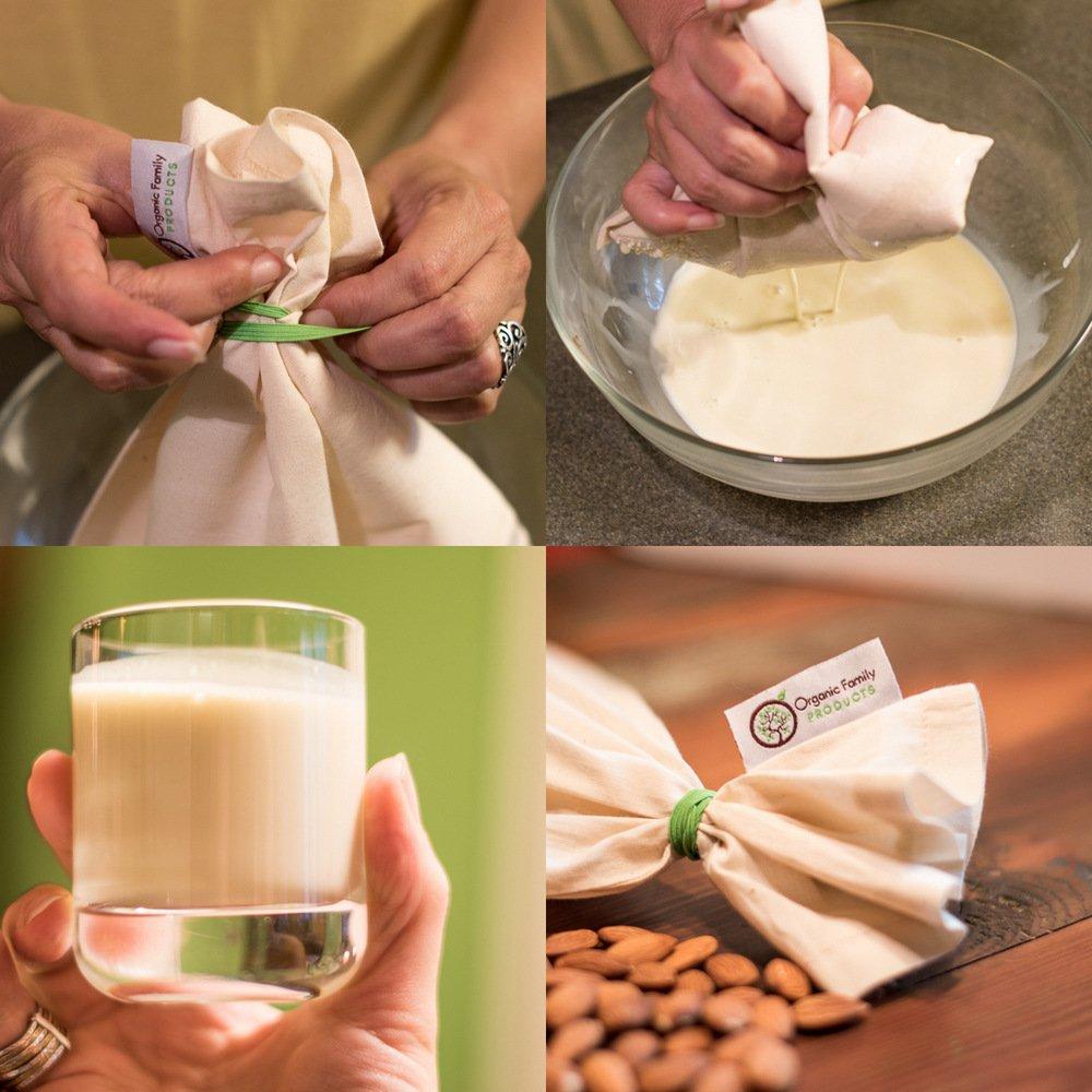 Algodón orgánico Nut Milk Bag - Super suave de almendro en leche eléctrica - Sin costuras parte inferior, cordón de ajuste libre - reutilizable Alimentos ...