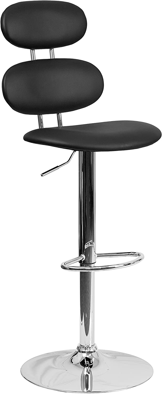 Flash Furniture Contemporary Black Vinyl Adjustable Height Barstool with Ellipse Back and Chrome Base