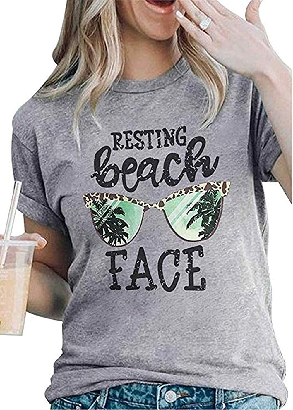 Resting Beach Face T-Shirt Women Funny Leopard Sunglasses Graphic Tees Top Short Sleeve Vacation Tops Shirt