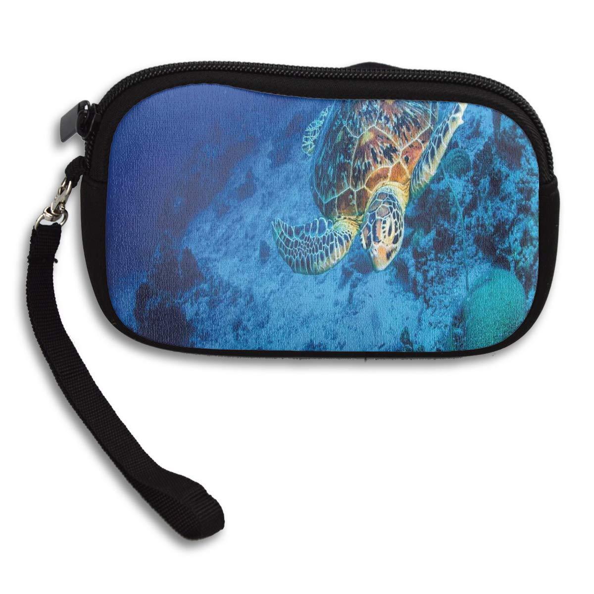 Sea Turtle In Deep Blue Waters Coin Pouch Clutch Purse Wristlet Wallet Phone Card Holder Handbag