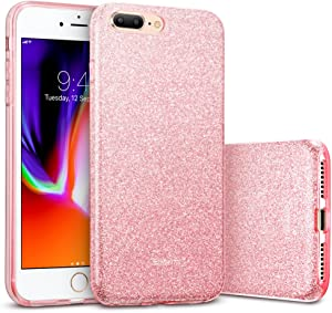 """ESR iPhone 8 Plus Case, iPhone 7 Plus Case,Glitter Sparkle Bling Case [Three Layer] for Girls Women [Supports Wireless Charging] for 5.5"""" iPhone 8 Plus/7 Plus(Rosegold)"""