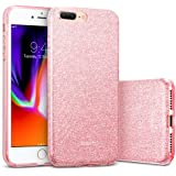 """iPhone 8 Plus Case, iPhone 7 Plus Case, ESR Glitter Sparkle Bling Case [Three Layer] for Girls Women [Supports Wireless Charging] for Apple 5.5"""" iPhone 8 Plus/7 Plus(Rose Gold)"""
