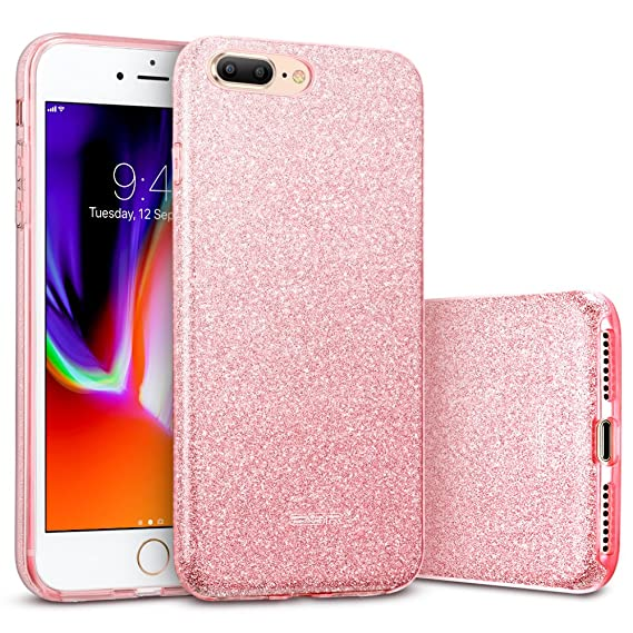 huge discount 817c5 649db ESR iPhone 8 Plus Case, iPhone 7 Plus Case,Glitter Sparkle Bling Case  [Three Layer] for Girls Women [Supports Wireless Charging] for 5.5
