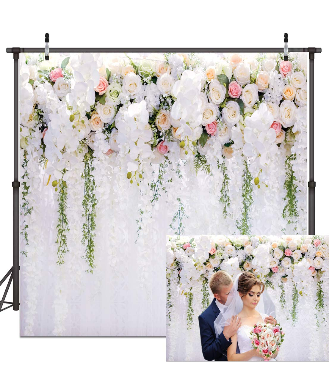 Dudaacvt 8X8FT White Flower Backdrop Curtain Floral 3D Flower Wedding Birthday Party Background Photo Backdrop Carnival Party Backdrop D0730808