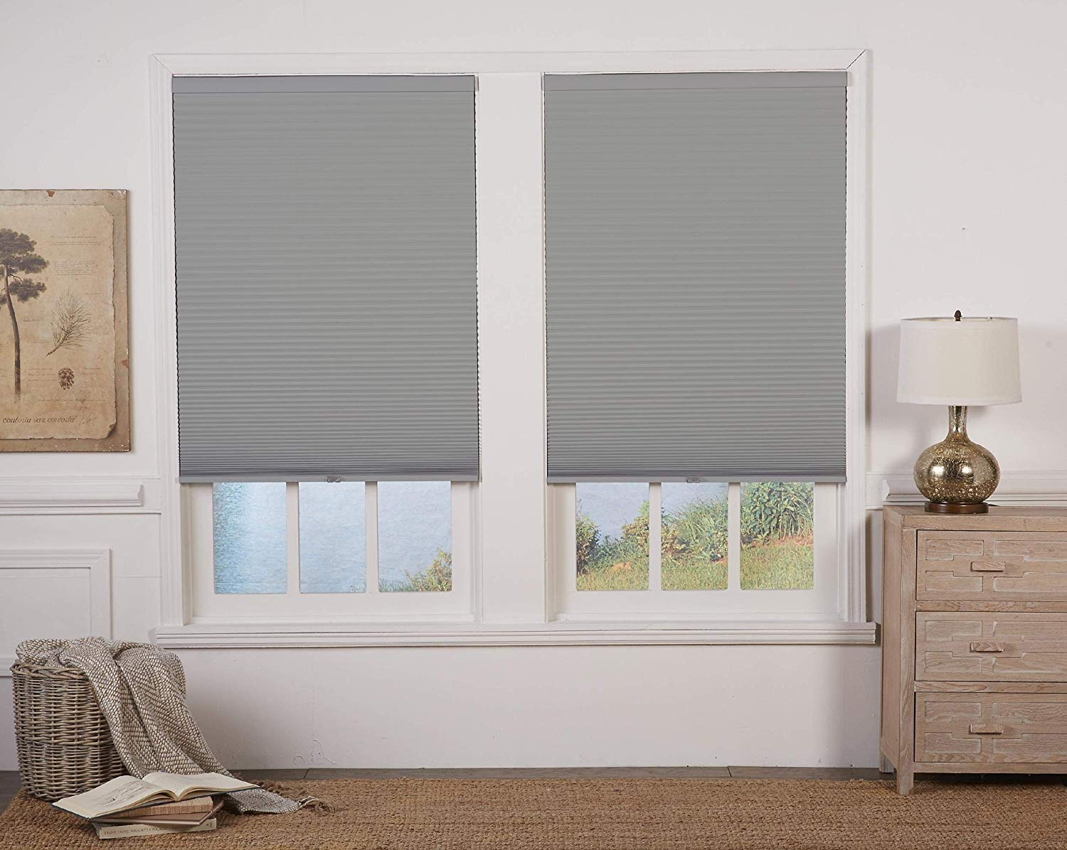 DEZ Furnishings QEGRWT564480 Cordless Blackout Cellular Shade 56.5W x 48H Inches Anchor Gray