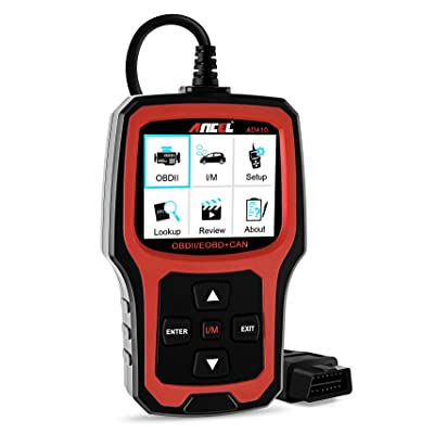 ANCEL AD410 OBD II Vehicle Check Engine Light Scan Tool Automotive Code Reader Auto OBD2 Scanner with I/M Readiness (Black-Red): Automotive