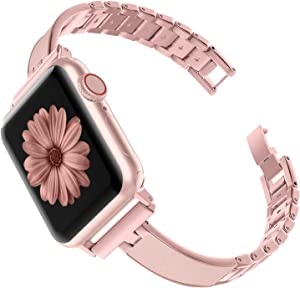 TOYOUTHS Compatible with Apple Watch Band Rose Gold Women 40mm Series 5 4 Metal Slim Bracelet Replacement Wristband Jewelry Pink Compatible iWatch Series 3 2 1 38mm(Rose Gold for Series1&2, 38mm/40mm)