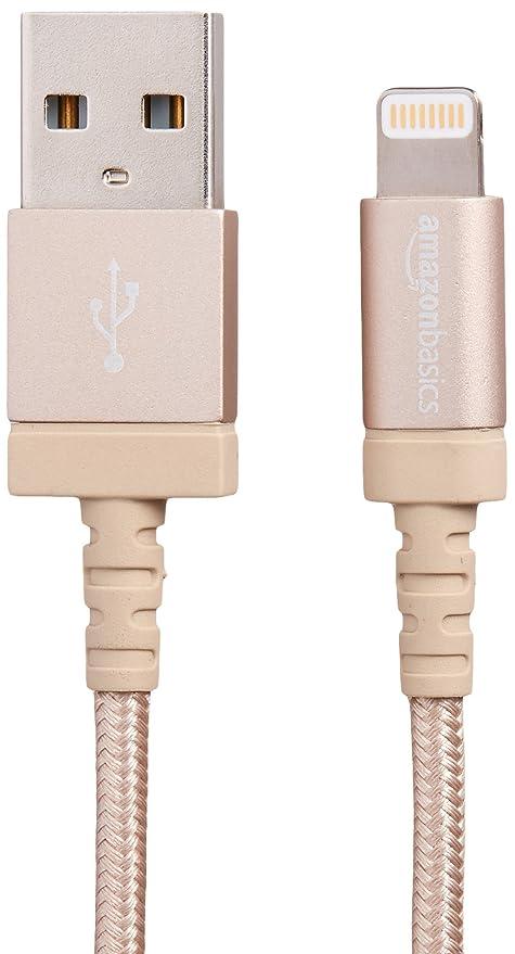 AmazonBasics Verbindungskabel Lightning-auf-USB-A, Nylon, geflochten, 1,8 m, zertifiziert von Apple, Gold