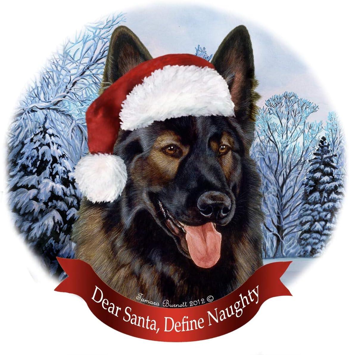 Holiday Pet Gifts German Shepherd Dk Brown Sable Dog Santa Hat Porcelain Ornament Home Kitchen